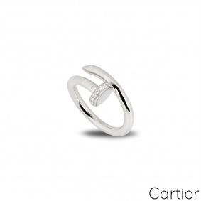 Cartier White Gold Diamond Juste Un Clou Ring Size 50 B4092700